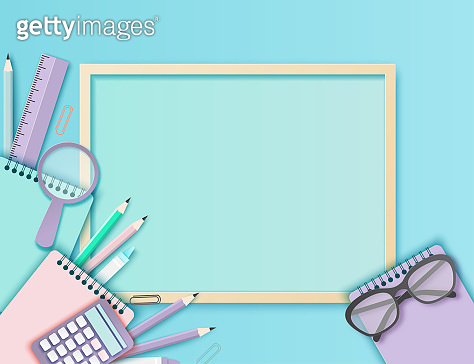 Back to school paper art background with glasses, pencil, blackboard and other school supplies. Modern origami teaching, education and learning symbol design. Pastrel colors
