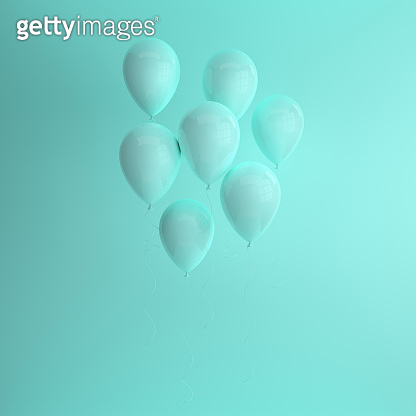 3d render illustration of realistic glossy green balloons on pastel turquoise background. Empty space for birthday, party, promotion social media banners, posters.