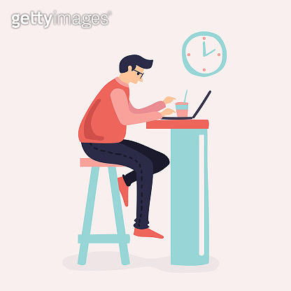 Vector illustration in flat style with business man character - guy sitting at the desk with laptop - start up, freelance and outsource work concept - infographics design element and concept