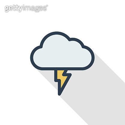 Lightning, thunderstorm cloud, weather thin line flat color icon. Linear vector symbol. Colorful long shadow design.