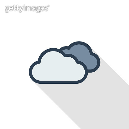 cloudy weather thin line flat color icon. Linear vector symbol. Colorful long shadow design.