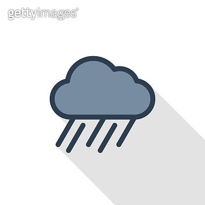 rain cloud, storm weather thin line flat color icon. Linear vector symbol. Colorful long shadow design.