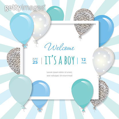 Balloons in paper cut out square frame. Birthday and boy baby shower design. Blue and silver glitter.