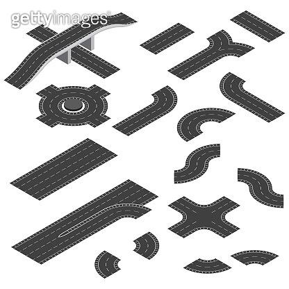 Isometric road elements set. Vector roads for isometric design.
