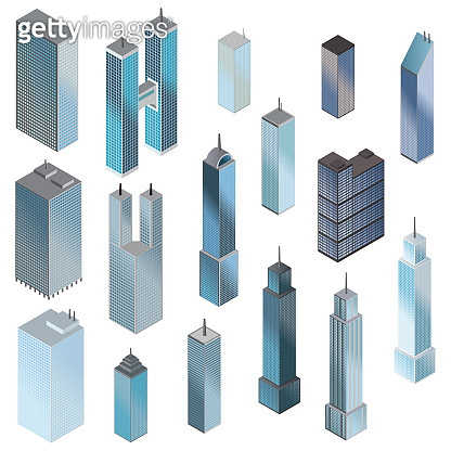 Skyscrapers isometric set. Vector.