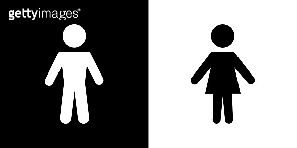 Man & Woman silhouette icons / Black and white