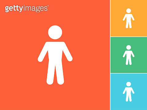Man Silhouette Flat Icon on orange Background