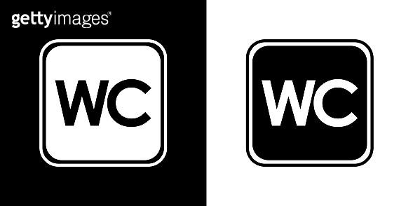 Public Restroom icon / Black and white