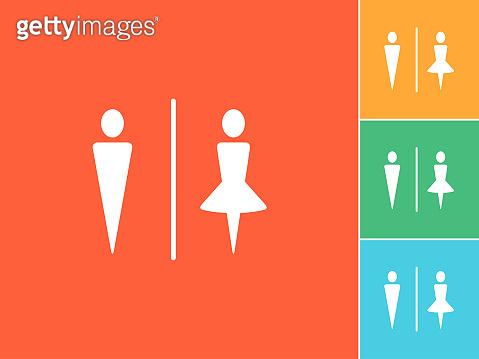 Man & Woman silhouette Flat icons on orange Background