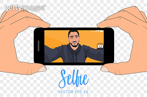 Selfie with smartphone / Young man