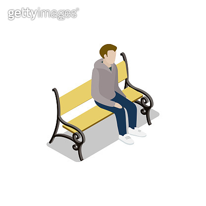 Young man on park wooden bench isometric 3D icon
