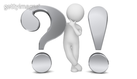 question mark exclamation point 3d silver interrogation point asking thinking stick man figure brainstorming person people with idea problem and solution or question and answer template isolated cut out on white background