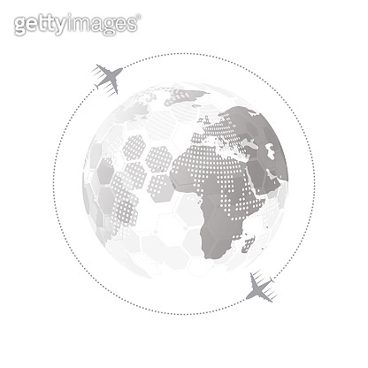 Global network connection with Business plane concept. World map point and line composition. Vector Illustration