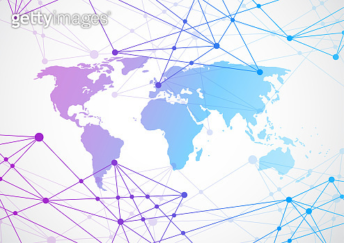 Global network connection. World map point and line composition concept of Connection technologies for business. Mixed media