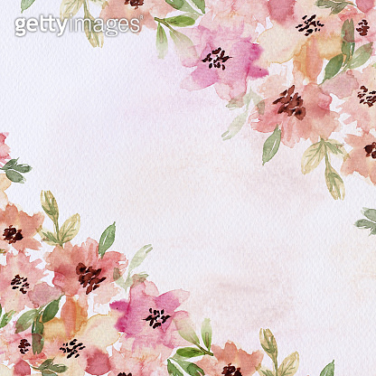 Watercolor floral background. Watercolor hand draw banner, card, wedding invitation, illustration with spring flowers and leaves.