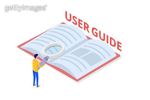 User manual, guide, instruction, guidebook, Handbook isometric concept. Vector illustration.