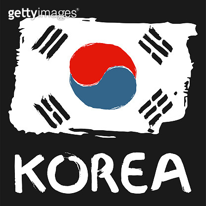 South Korea flag hand drawn vector illustration. Korean colorful brush strokes painted national country flag with calligraphy white letters on black background.