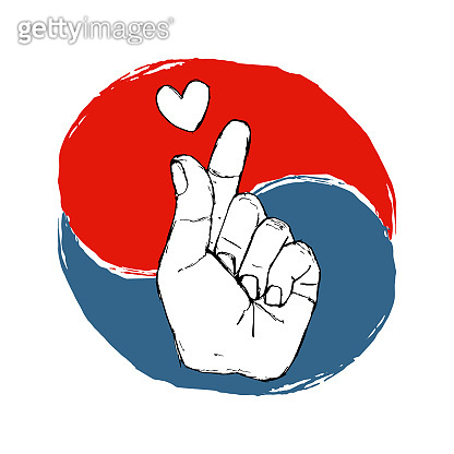 Korean fingers symbol - i love you. Hand drawn St. Valentine heart sign and graphic circle in national South Korea colors. Hangul  Vector illustration