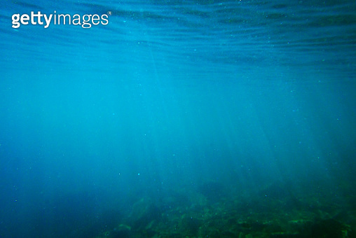 Green and blue tone of underwater rocky background.