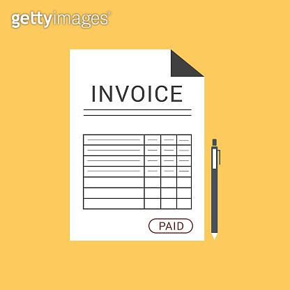 Paid invoice document - Illustration