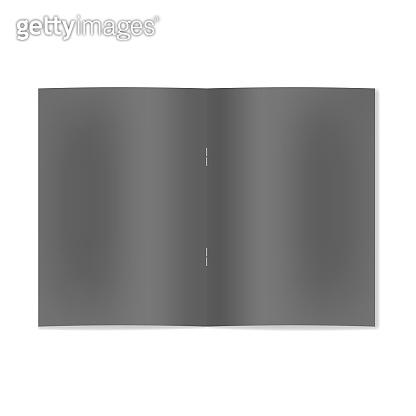 Realistic open black notebook, brochure on staple