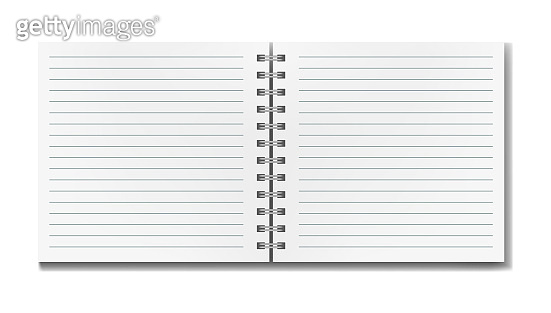 Open realistic line ruled square notebook mockup