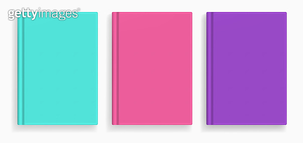 Vector blank colored realistic book cover mockups