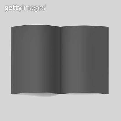 Realistic opened black book or magazine mockup