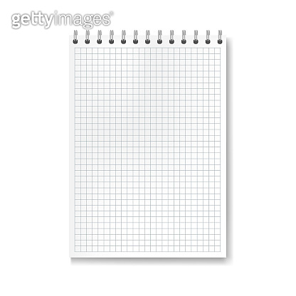 Realistic vector math ruled notebook