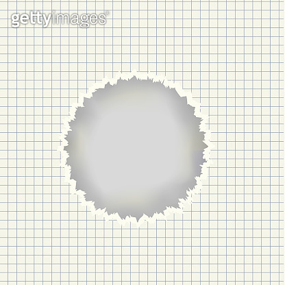 Vector realistic sheet with torn hole in center