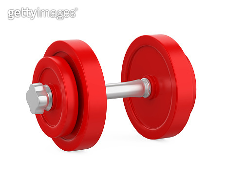 Red Metal Dumbbell Isolated