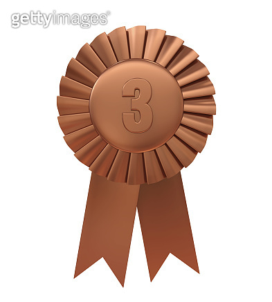 Third Place Bronze Award Ribbon Isolated