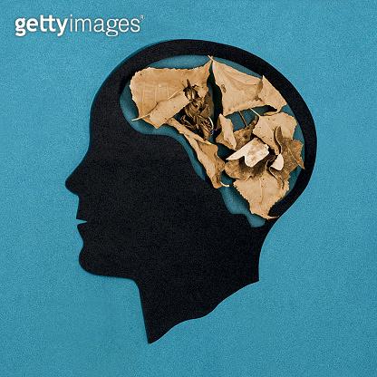 Stylized head silhouette. Dementia
