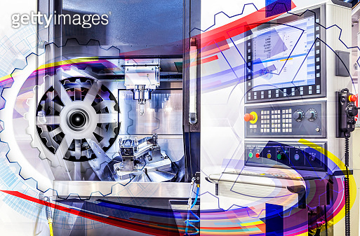 machine control panel CNC with abstract graphical interface covered above