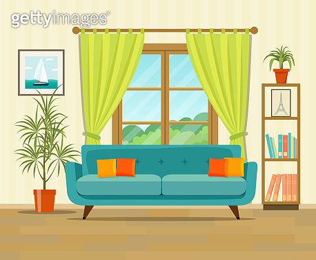 Living room interior design with furniture: sofa, bookcase, picture. Flat style vector illustration