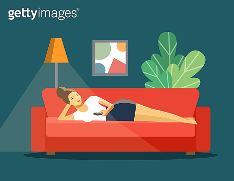 Happy young woman with TV remote control lying on sofa isolated. Vector flat style illustration