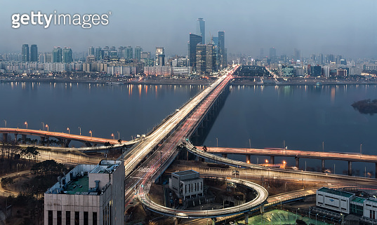 South Korea Seoul night / blue hour Mapo bridge Cityscapr