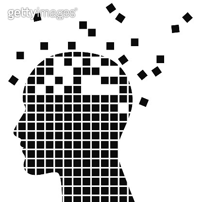 Dementia, sclerosis and memory loss mental problems vector illustration.