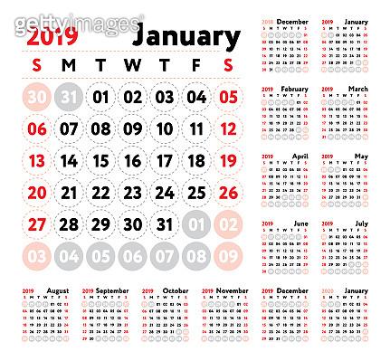 Calendar 2019  Vector English calender  January, February