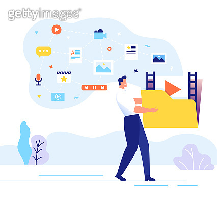 Engaging content concept. Man carries a large folder with media files. Communication with subscribers vector illustration.