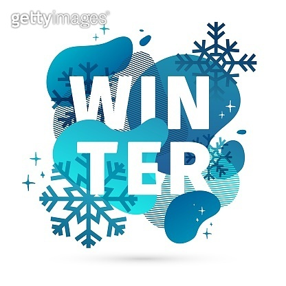 Modern design winter template banner with abstract geometric shape background. Cold blue style layout for season offer or sale with snowflake and fluid graphic dynamic decoration backdrop. Vector