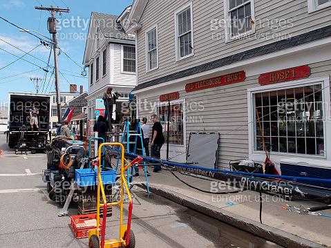 Large Crew films scene in historic area