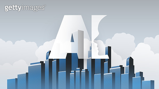 Machine Learning, Artificial Intelligence and Smart City Design Concept with Cityscape and AI Label