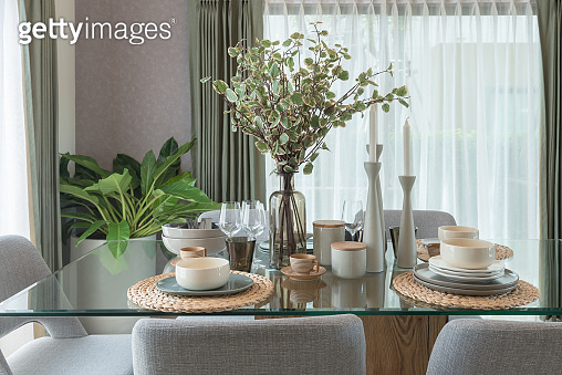 table set on dining table