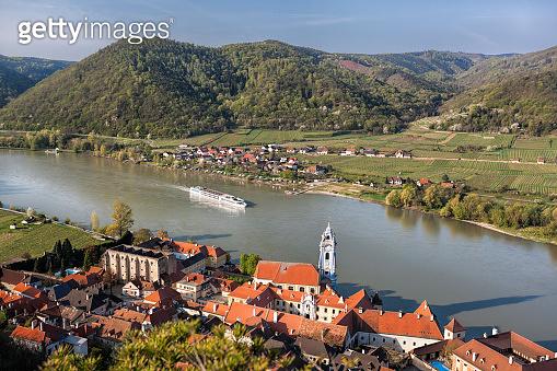Durnstein village during spring time in Wachau, Austria