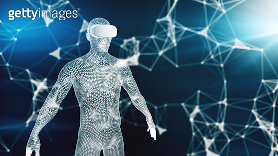 Digital virtual reality on the human hologram,3d illustration