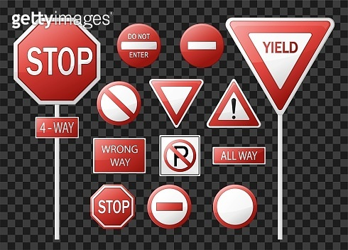 Road signs and symbols. Isolated on  transparent background. Vector