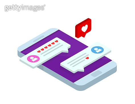 Concept of virtual relationships. Online dating and social networking. Chatting on the Internet. Vector 3d isometric illustration.