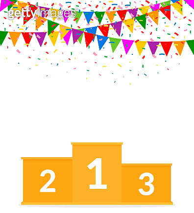Empty Winners Podium Isolated on White Background. Colorful Garland and Confetti. Victory Celebration. Vector Illustration. Flat Style.