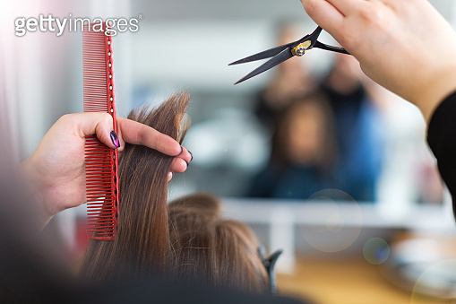 Hairdresser and client at hair salon